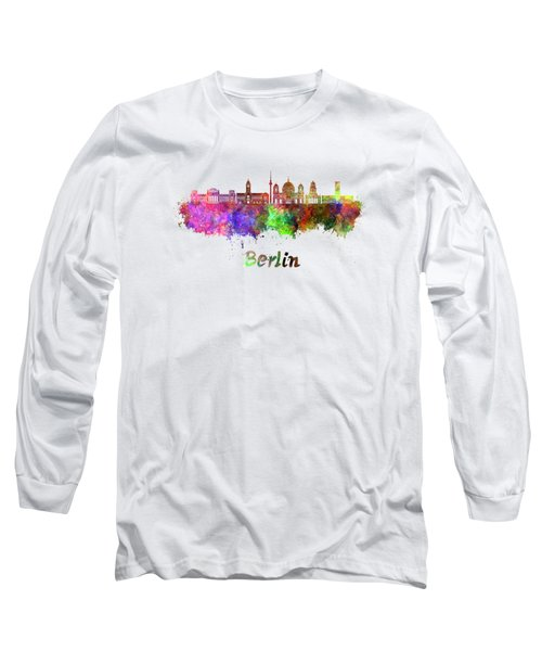 Berlin V2 Skyline In Watercolor Long Sleeve T-Shirt by Pablo Romero