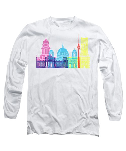 Berlin V2 Skyline Pop Long Sleeve T-Shirt by Pablo Romero
