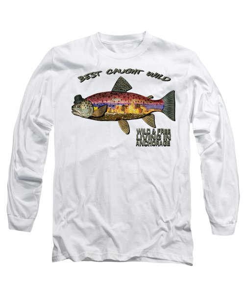 Fishing - Best Caught Wild On Light Long Sleeve T-Shirt by Elaine Ossipov