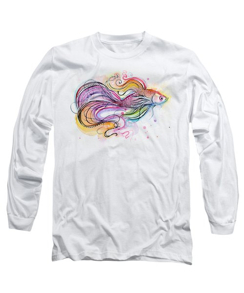 Betta Fish Watercolor Long Sleeve T-Shirt