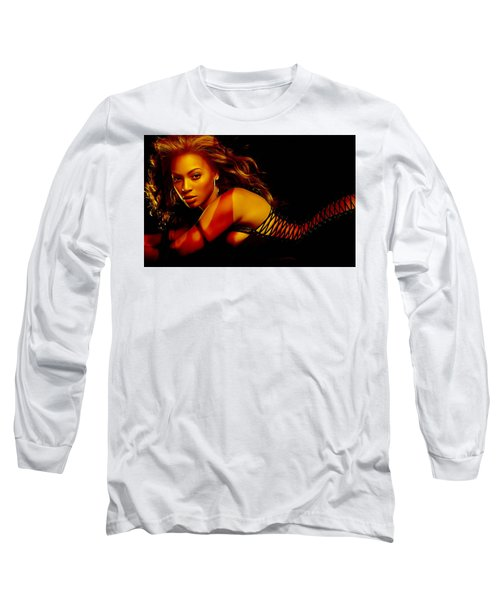 Long Sleeve T-Shirt featuring the mixed media Beyonce by Marvin Blaine