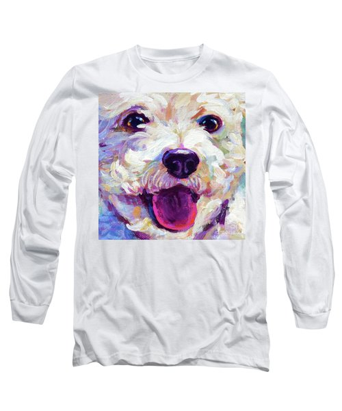 Long Sleeve T-Shirt featuring the painting Bichon Frise Face by Robert Phelps