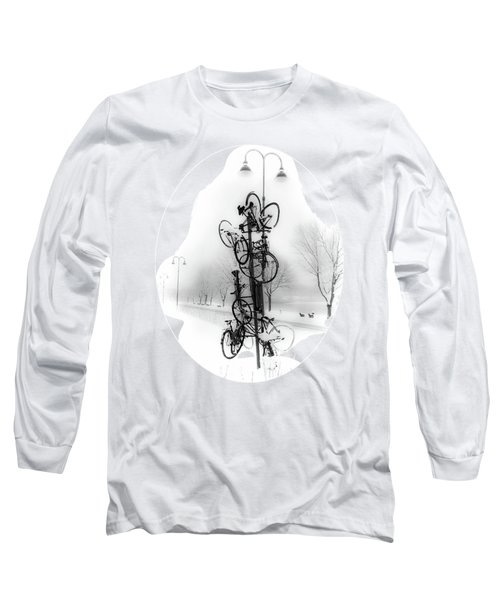 Long Sleeve T-Shirt featuring the photograph Bicycle Lamppost In Winter by Menega Sabidussi