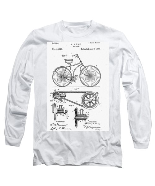 Long Sleeve T-Shirt featuring the digital art Bicycle Patent 1890 by Bill Cannon