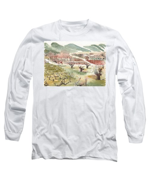 Long Sleeve T-Shirt featuring the painting Bicycling Through Vineyards by Tilly Strauss