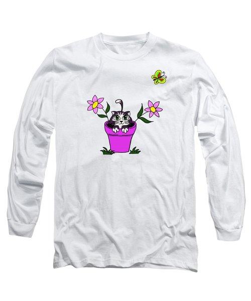 Big Eyed Kitten In Flower Pot Long Sleeve T-Shirt by Lorraine Kelly