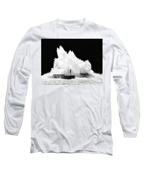 Big Wave Breaking On Breakwater Long Sleeve T-Shirt