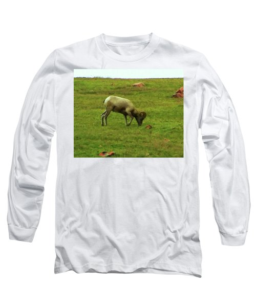 Long Sleeve T-Shirt featuring the digital art Bighorn Sheep Grazing by Chris Flees