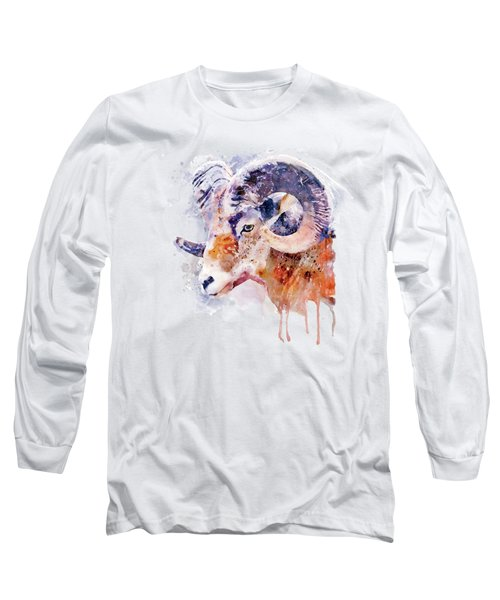 Bighorn Sheep Watercolor Portrait Long Sleeve T-Shirt