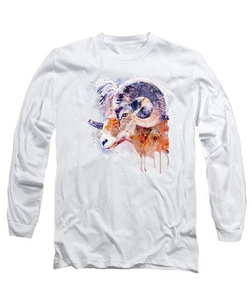 Bighorn Sheep Watercolor Portrait Long Sleeve T-Shirt