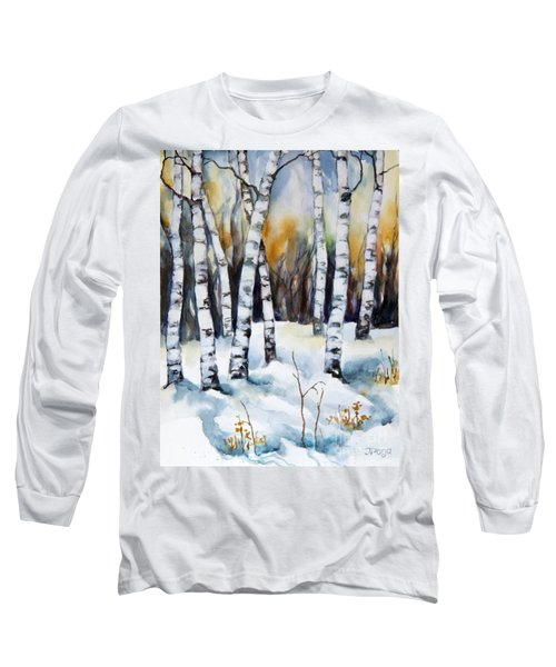 Long Sleeve T-Shirt featuring the painting The White Of Winter Birch by Inese Poga