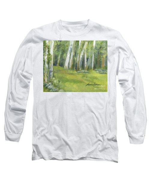 Birch Trees And Spring Field Long Sleeve T-Shirt