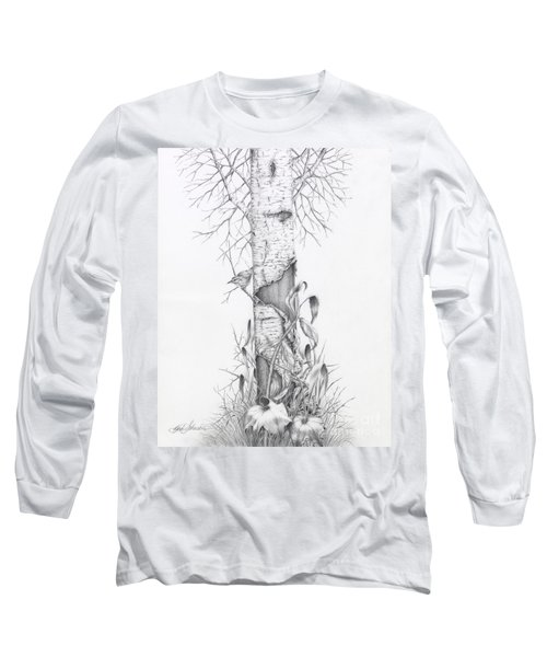 Bird In Birch Tree Long Sleeve T-Shirt