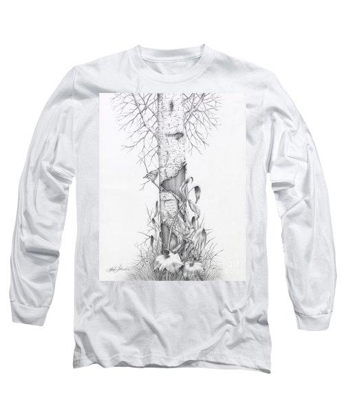 Bird In Birch Tree Long Sleeve T-Shirt