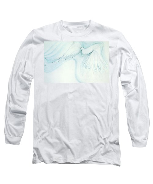 Long Sleeve T-Shirt featuring the drawing Bird In Flight by Denise Fulmer