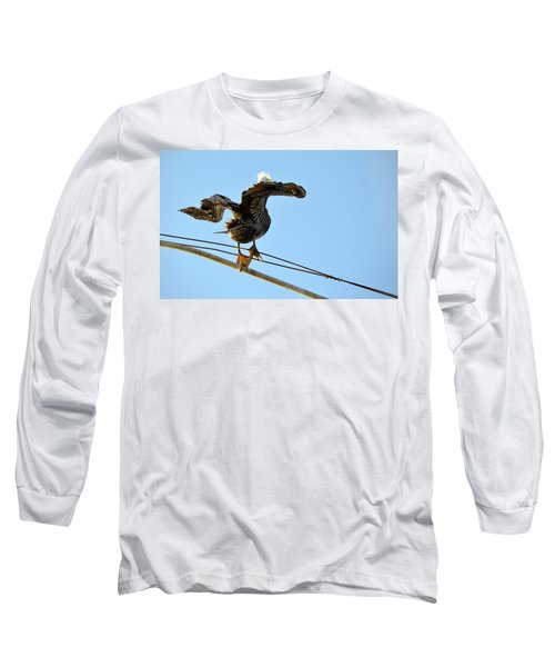 Long Sleeve T-Shirt featuring the photograph Bird On The Wire by AJ Schibig