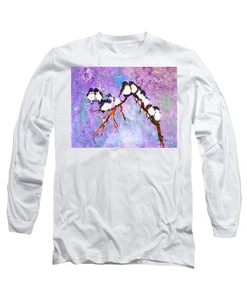 Bird Snowfall Limited Edition Print 1-25 Long Sleeve T-Shirt by Donna Dixon