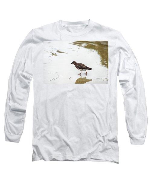 Long Sleeve T-Shirt featuring the photograph Bird Walking On Beach by Mariola Bitner