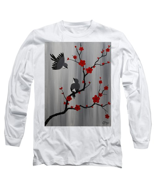 Birds And Blooms In Red Long Sleeve T-Shirt