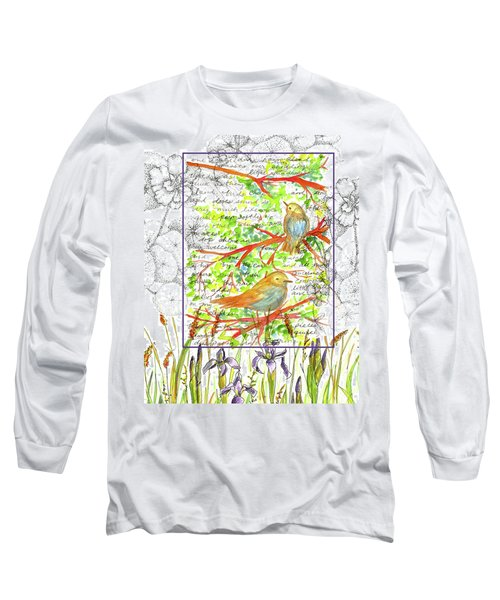 Long Sleeve T-Shirt featuring the painting Bluebirds Nature Collage by Cathie Richardson