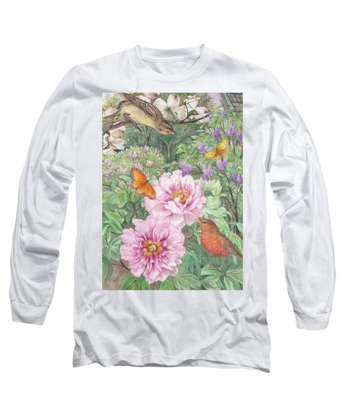 Long Sleeve T-Shirt featuring the painting Birds Peony Garden Illustration by Judith Cheng
