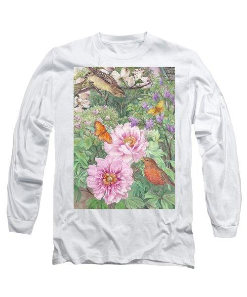Birds Peony Garden Illustration Long Sleeve T-Shirt by Judith Cheng