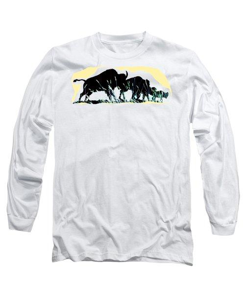Bison Prairie Run Long Sleeve T-Shirt by Aliceann Carlton