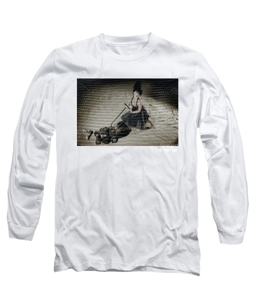Bizarre Girl With Lawn Mower On Beach Long Sleeve T-Shirt by Michael Edwards