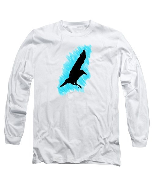 Black And Blue Long Sleeve T-Shirt by Linsey Williams