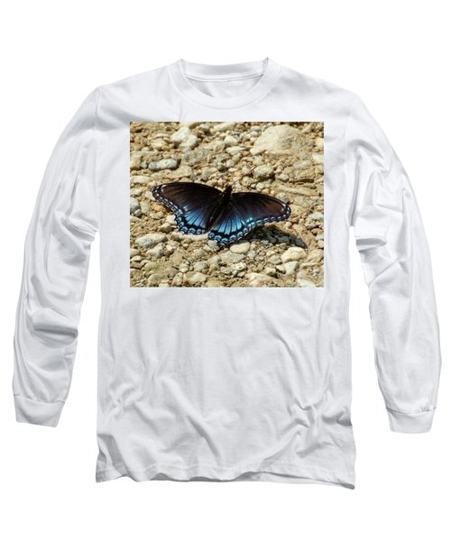 Black And Blue Monarch Butterfly Long Sleeve T-Shirt