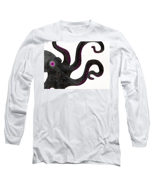 Black And Purple Octopus Long Sleeve T-Shirt by Stefanie Forck