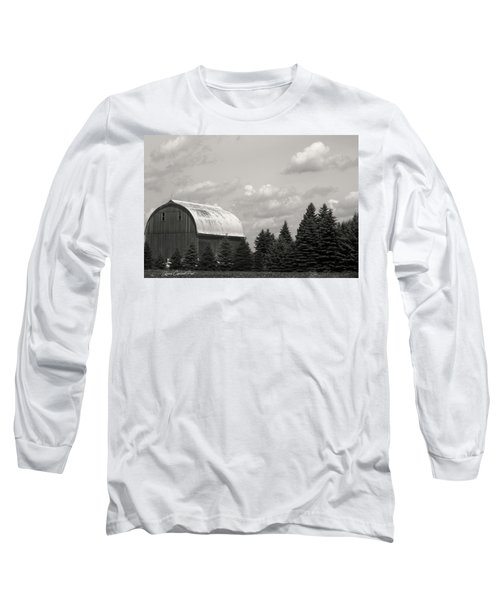 Black And White Barn Long Sleeve T-Shirt