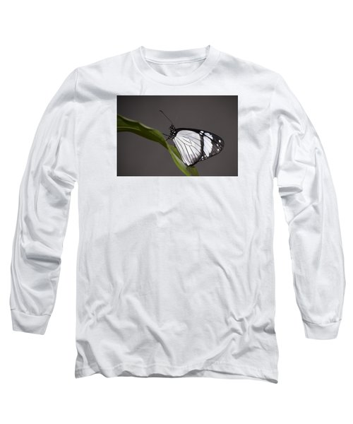Black And White Butterfly Long Sleeve T-Shirt by Penny Lisowski