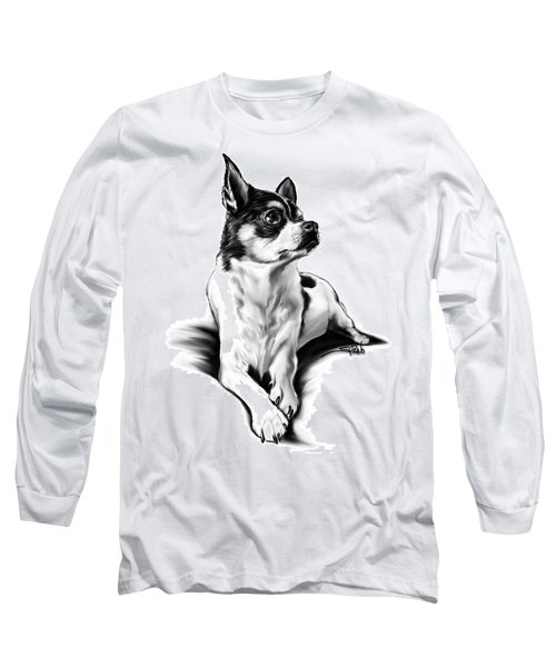 Black And White Chihuahua By Spano Long Sleeve T-Shirt by Michael Spano