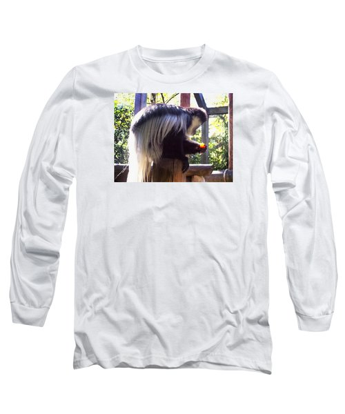 Long Sleeve T-Shirt featuring the photograph Black And White Colobus Monkey by Shawna Rowe