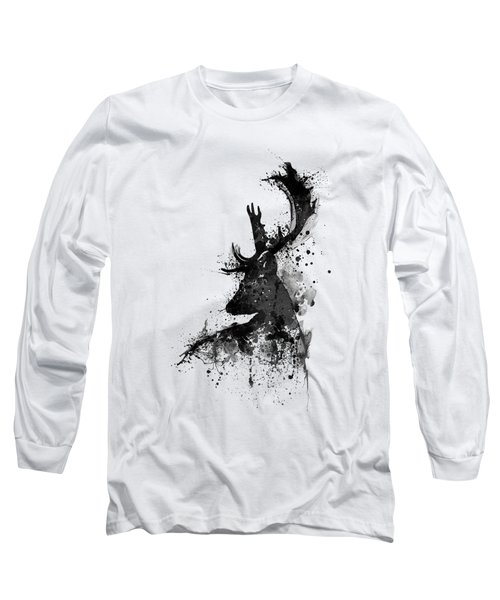 Black And White Deer Head Watercolor Silhouette Long Sleeve T-Shirt