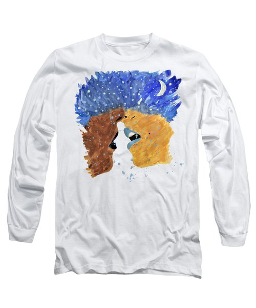 Romantic Kissing With Stars In Their Hair Long Sleeve T-Shirt by Lucy Frost