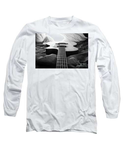 Long Sleeve T-Shirt featuring the photograph Black And White Guitar by MGL Meiklejohn Graphics Licensing