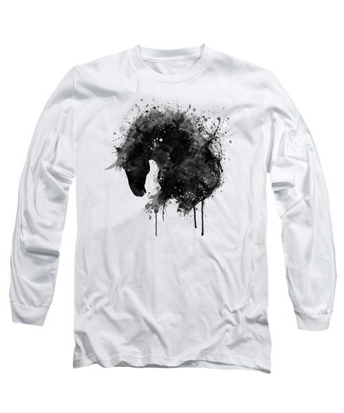 Black And White Horse Head Watercolor Silhouette Long Sleeve T-Shirt