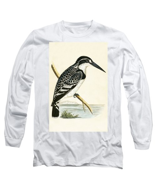 Black And White Kingfisher Long Sleeve T-Shirt