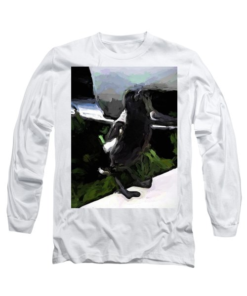 Black And White Magpie On The Porch Long Sleeve T-Shirt