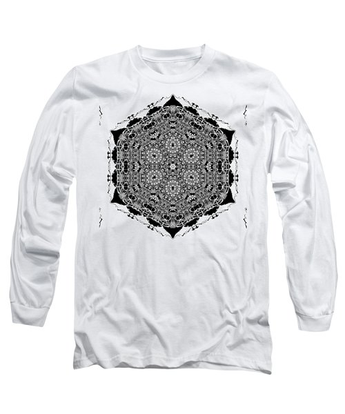 Long Sleeve T-Shirt featuring the digital art Black And White Mandala 15 by Robert Thalmeier