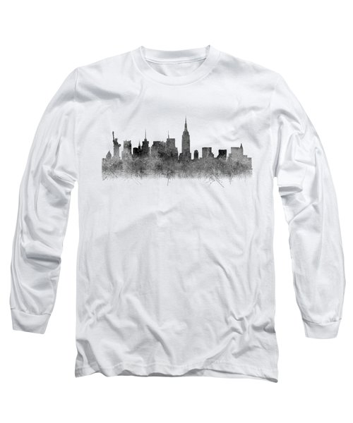 Long Sleeve T-Shirt featuring the digital art Black And White New York Skylines Splashes And Reflections by Georgeta Blanaru