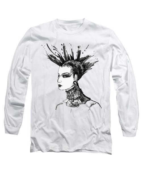 Long Sleeve T-Shirt featuring the digital art Black And White Punk Rock Girl by Marian Voicu