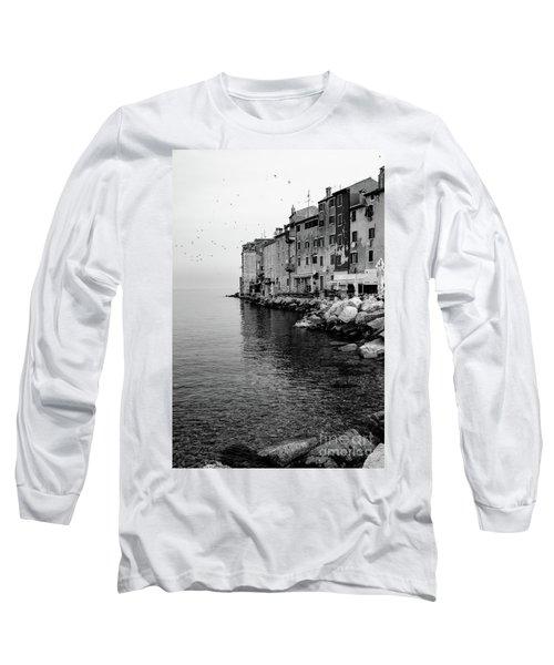Black And White - Rovinj Venetian Buildings And Adriatic Sea, Istria, Croatia Long Sleeve T-Shirt