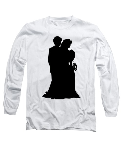 Black And White Silhouette Of A Bride And Groom Long Sleeve T-Shirt