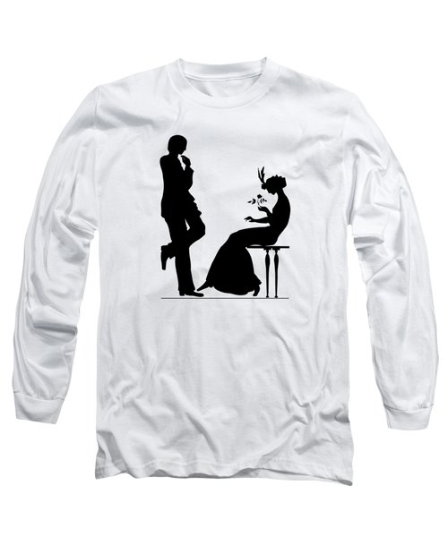 Black And White Silhouette Of A Man Giving A Woman A Flower Long Sleeve T-Shirt