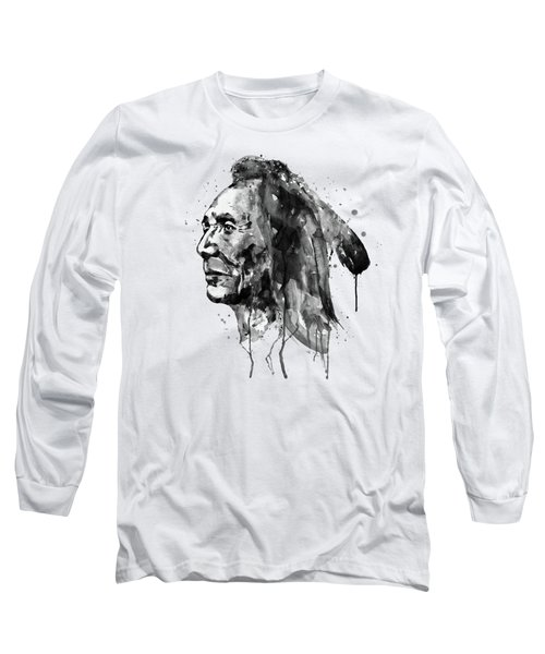 Black And White Sioux Warrior Watercolor Long Sleeve T-Shirt