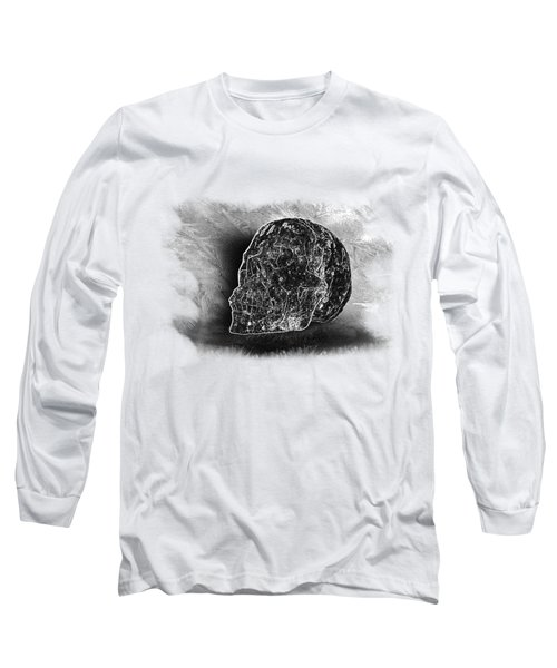Black And White Skull On Transparent Background Long Sleeve T-Shirt