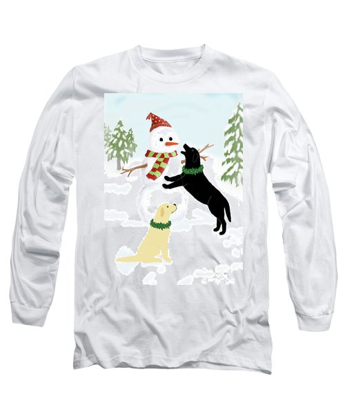 Black And Yellow Labs With Snowman Long Sleeve T-Shirt